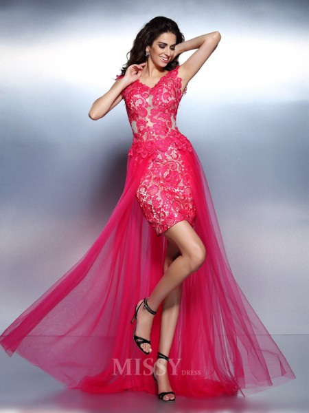 A-Line/Princess V-neck Lace Floor-Length Lace Dress With Ruched