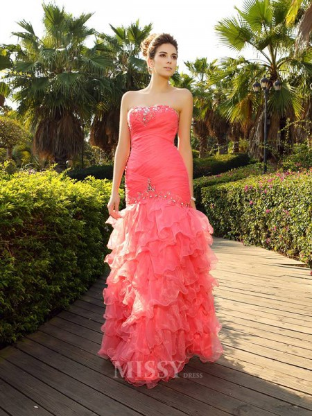 Trumpet/Mermaid Strapless Floor-Length Organza Dress With Embroidery