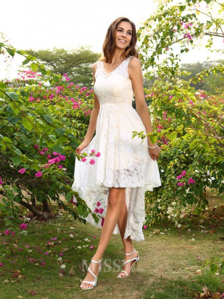 A-Line/Princess V-neck Lace Asymmetrical Bridesmaid Dress With Embroidery