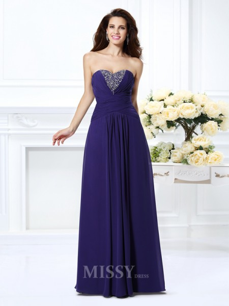 A-Line/Princess Sweetheart Floor-Length Chiffon Dress With Ruched