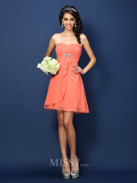 A-Line/Princess Sweetheart Short/Mini Chiffon Bridesmaid Dress With Ruffles Beading