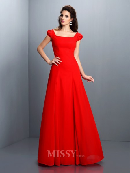 A-Line/Princess Bateau Short Sleeves Floor-Length Satin Dress With Pleats