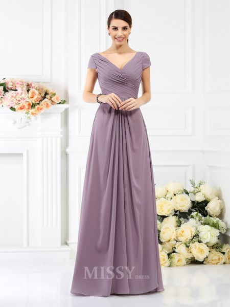 A-Line/Princess V-neck Short Sleeves Floor-Length Chiffon Bridesmaid Dress With Embroidery Pleats