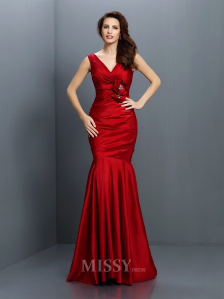 Trumpet/Mermaid V-neck Floor-Length Taffeta Bridesmaid Dress With Beading