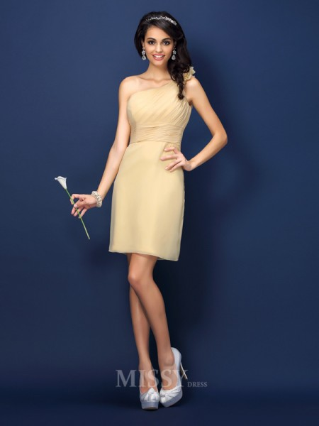 Sheath/Column One-Shoulder Short/Mini Chiffon Bridesmaid Dress With Lace
