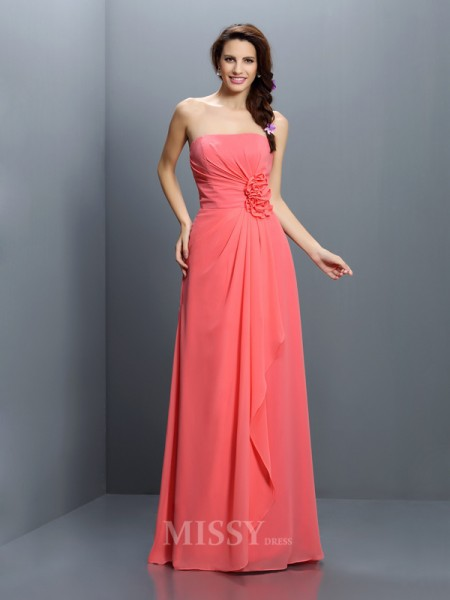 A-Line/Princess Strapless Floor-Length Chiffon Bridesmaid Dress With Ruched