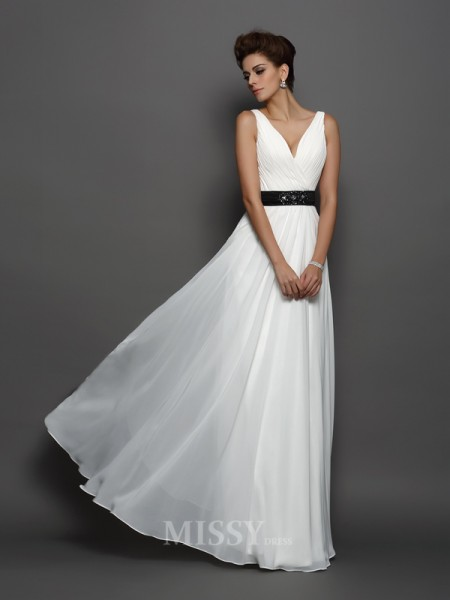 A-Line/Princess V-neck Chiffon Floor-Length Wedding Dress With Beading