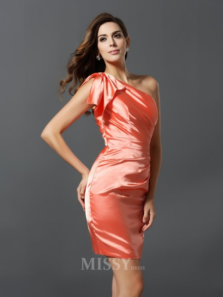 Sheath/Column One-Shoulder Elastic Woven Satin Short/Mini Bridesmaid Dress With Applique Pleats