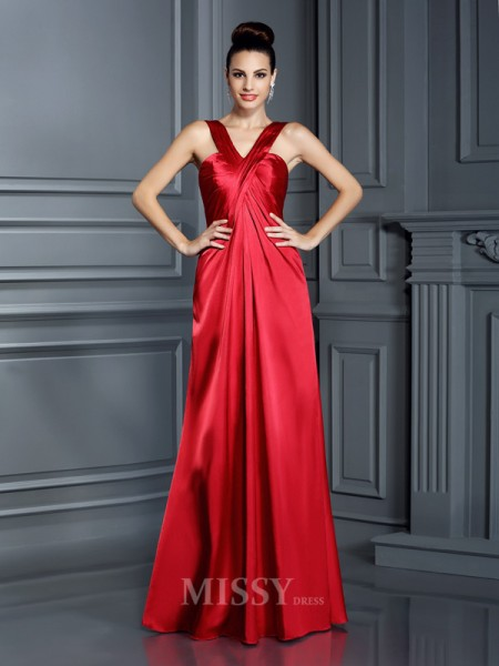 A-Line/Princess Straps Floor-Length Elastic Woven Satin Dress With Ruched