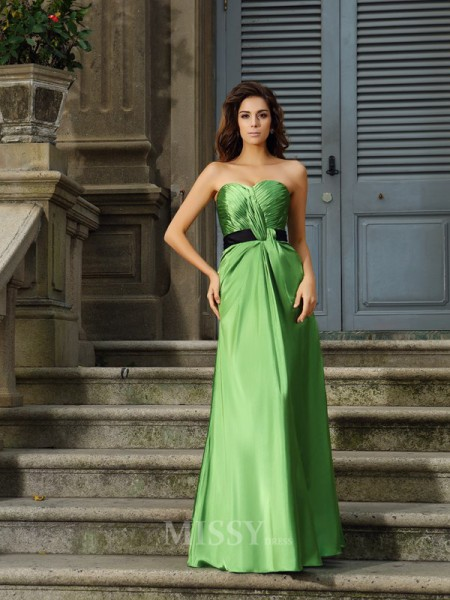 A-Line/Princess Sweetheart Silk like Satin Floor-Length Dress With Lace