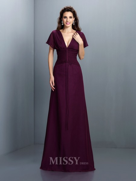 A-Line/Princess V-neck Short Sleeves Floor-Length Chiffon Dress With Pleats Ruched