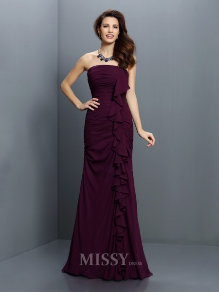 Trumpet/Mermaid Strapless Sweep/Brush Train Chiffon Bridesmaid Dress With Embroidery Pleats