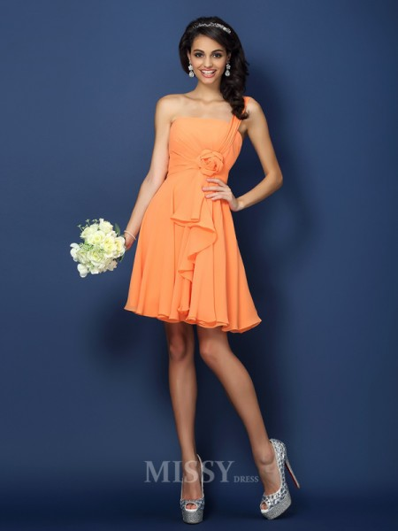 A-Line/Princess Strapless One-Shoulder Short/Mini Chiffon Bridesmaid Dress With Ruffles