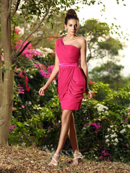 Sheath/Column One-Shoulder Chiffon Short/Mini Bridesmaid Dress With Beading