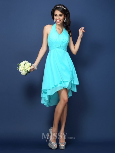 A-Line/Princess Halter Short/Mini Chiffon Bridesmaid Dress With Rhinestone Pleats