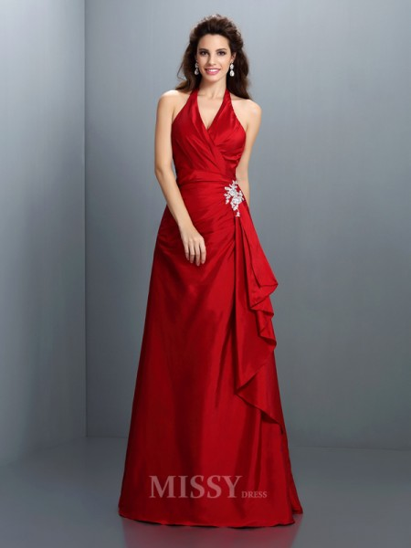 A-Line/Princess Halter Floor-Length Taffeta Dress With Ruffles