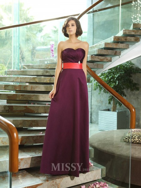 A-Line/Princess Sweetheart Satin Floor-Length Dress With Ruched