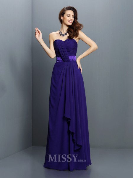 A-Line/Princess Sweetheart Floor-Length Chiffon Bridesmaid Dress With Pleats