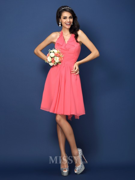 A-Line/Princess Halter Short/Mini Chiffon Bridesmaid Dress With Sash Bowknot