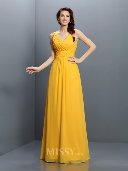 A-Line/Princess V-neck Floor-Length Chiffon Bridesmaid Dress With Beading
