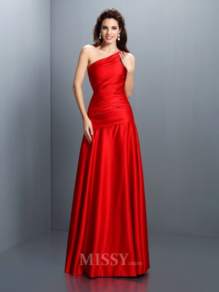 A-Line/Princess One-Shoulder Pleats Floor-Length Satin Dress With Ruched