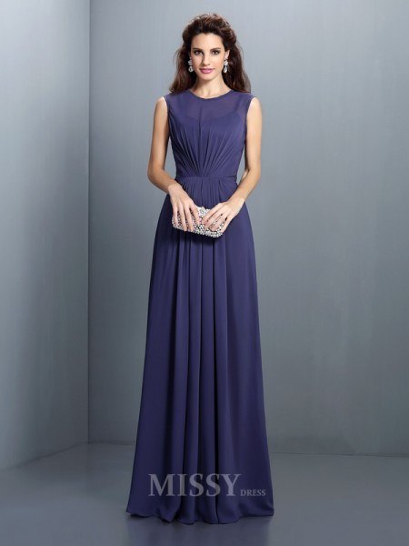 A-Line/Princess High Neck Floor-Length Chiffon Dress With Rhinestone Pleats