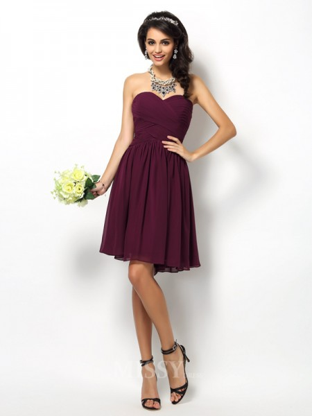 A-Line/Princess Sweetheart Short/Mini Chiffon Bridesmaid Dress With Embroidery Pleats