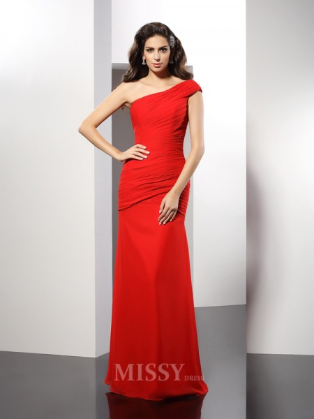 Sheath/Column One-Shoulder Pleats Floor-Length Chiffon Dress With Lace