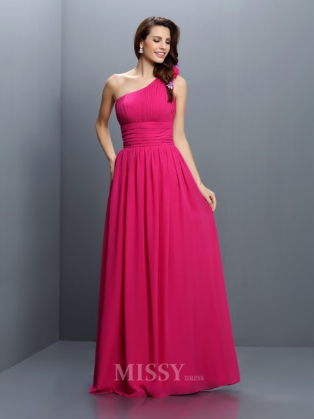 A-Line/Princess One-Shoulder Floor-Length Chiffon Bridesmaid Dress With Ruched
