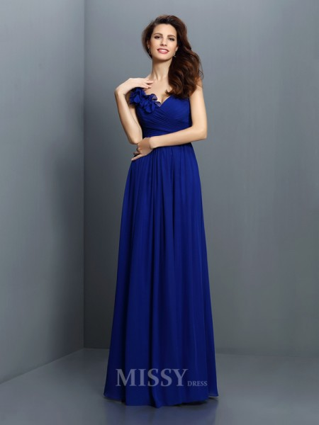 A-Line/Princess V-neck Floor-Length Chiffon Bridesmaid Dress With Lace Pleats