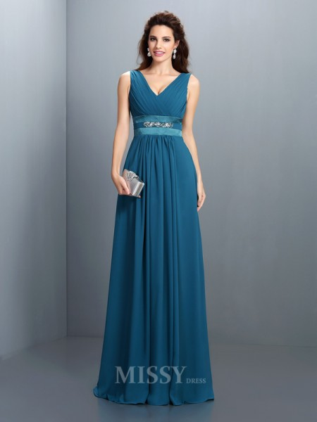 A-Line/Princess V-neck Beading Floor-Length Chiffon Dress With Ruched