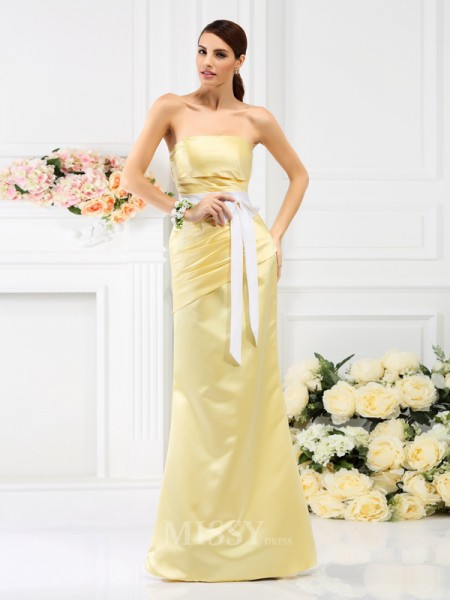 Trumpet/Mermaid Strapless Pleats Floor-Length Satin Bridesmaid Dress With Lace