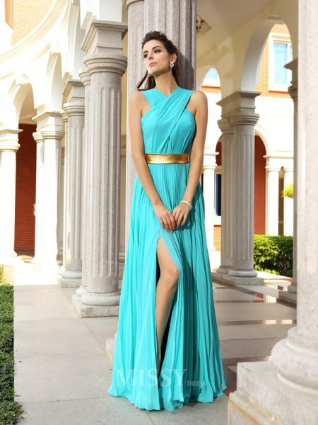 A-Line/Princess Chiffon Floor-Length Dress With Sash Pleats