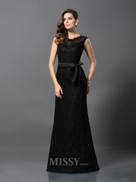 Sheath/Column Scoop Satin Lace Floor-Length Dress With Beading