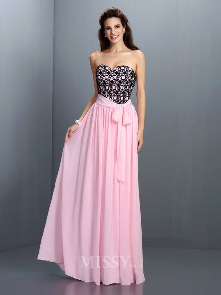 A-Line/Princess Sweetheart Lace Floor-Length Chiffon Dress With Ruffles