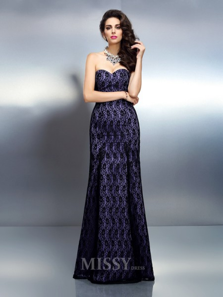 Trumpet/Mermaid Sweetheart Lace Floor-Length Satin Dress With Beading