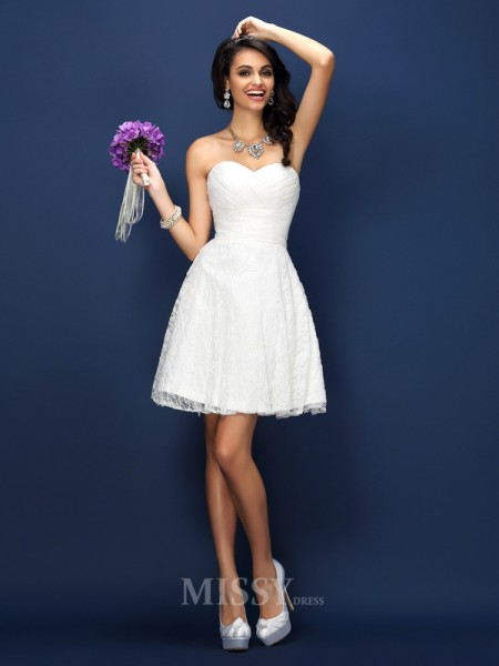 A-Line/Princess Sweetheart Lace Short/Mini Satin Bridesmaid Dress With Beading Pleats