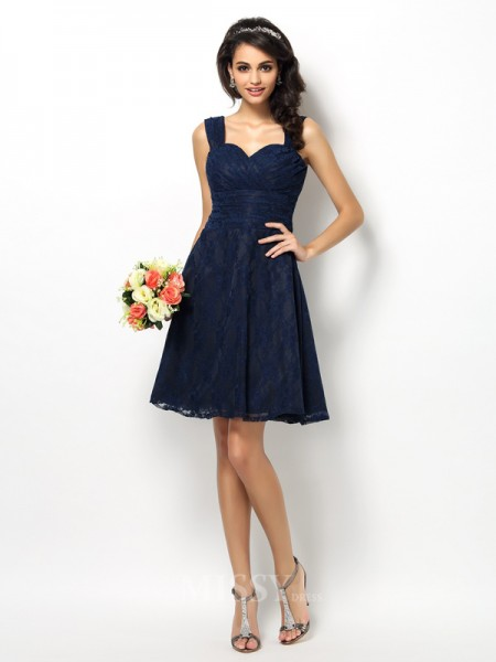 A-Line/Princess Straps Short/Mini Satin Bridesmaid Dress With Beading Lace