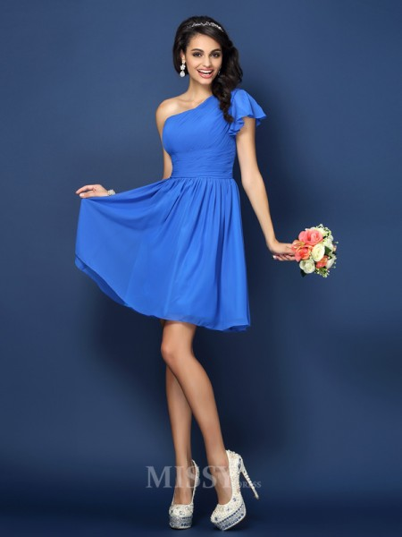 A-Line/Princess One-Shoulder Short/Mini Chiffon Bridesmaid Dress With Lace Pleats