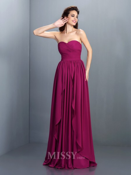 A-Line/Princess Sweetheart Floor-Length Chiffon Dress With Beading Pleats