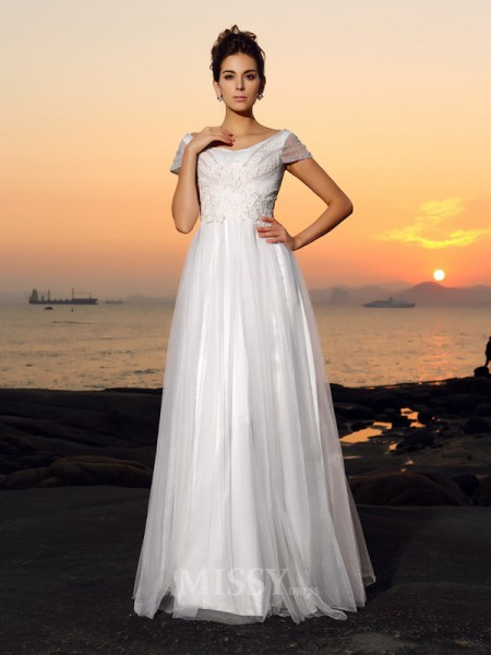 A-Line/Princess Short Sleeves Off-the-Shoulder Tulle Floor-Length Wedding Dress With Rhinestone