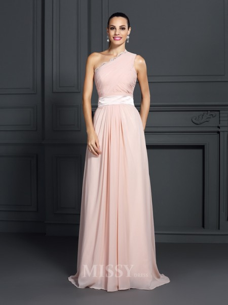 A-Line/Princess One-Shoulder Sweep/Brush Train Chiffon Dress With Lace Ruffles