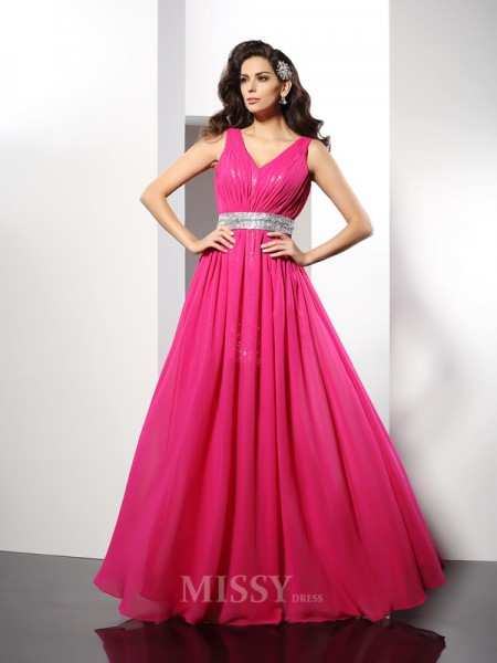 A-Line/Princess V-neck Paillette Floor-Length Chiffon Dress With Embroidery