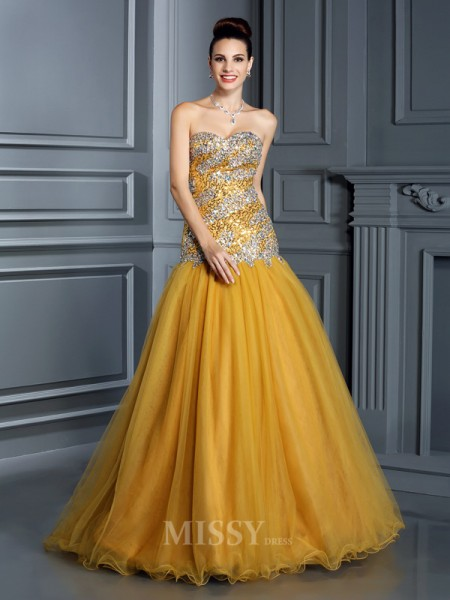 A-Line/Princess Sweetheart Floor-Length Satin Dress With Sash Ruffles