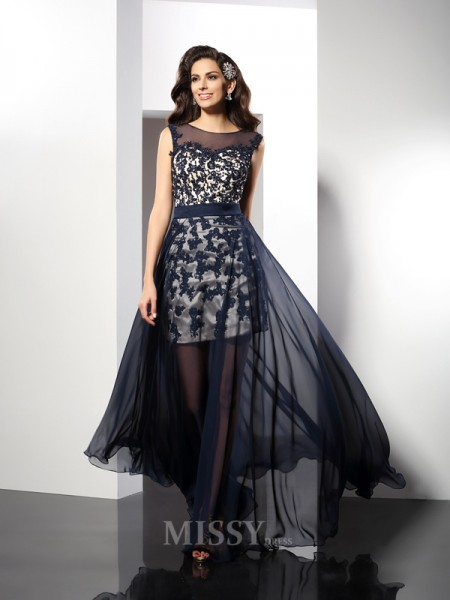A-Line/Princess Scoop Floor-Length Elastic Woven Satin Dress With Pleats