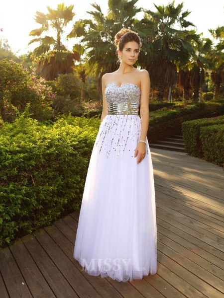 A-Line/Princess Beading Sweetheart Floor-Length Organza Dress With Lace