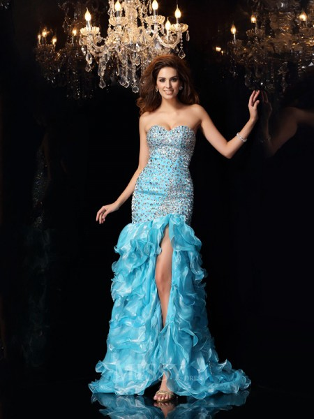 Trumpet/Mermaid Sweetheart Organza Asymmetrical Dress With Ruffles