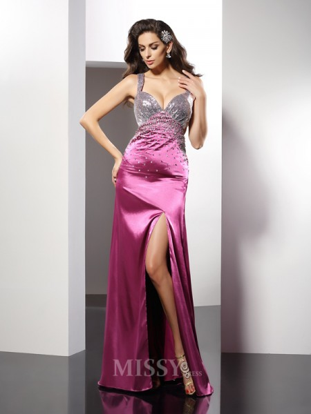 A-Line/Princess Straps Beading Floor-Length Elastic Woven Satin Dress With Ruffles