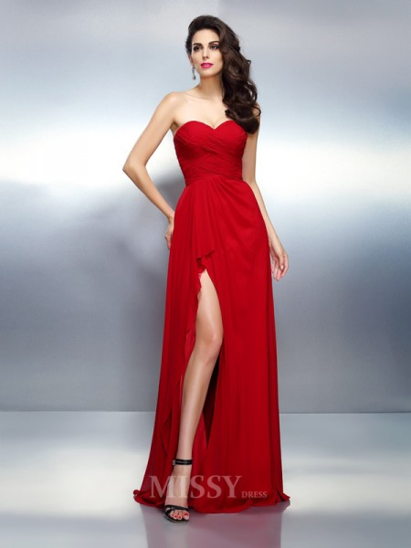 A-Line/Princess Sweetheart Floor-Length Chiffon Dress With Applique Pleats