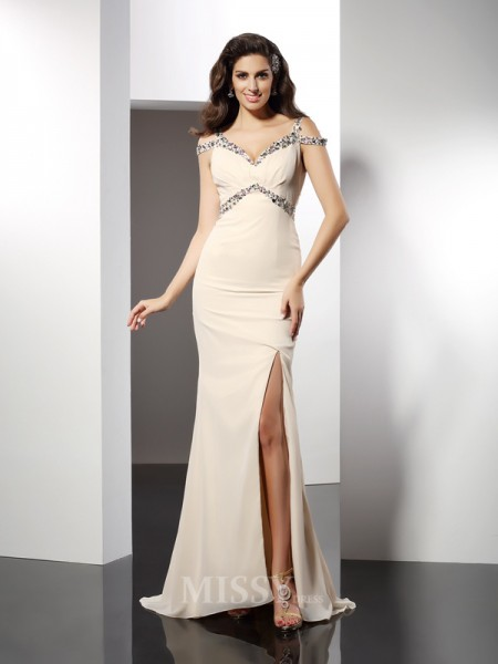 Trumpet/Mermaid Sweetheart Sweep/Brush Train Chiffon Dress With Ruched